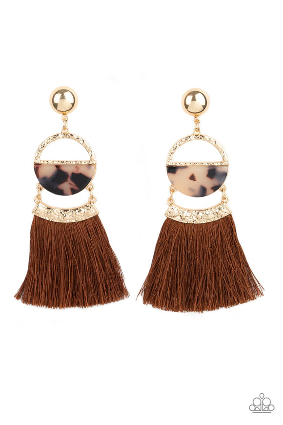 Paparazzi Tassel Trot Brown Animal Print Tassel Gold Earrings