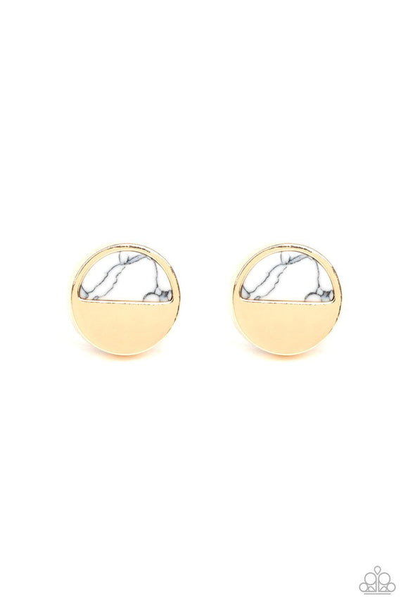 Paparazzi Marble Minimalist - White Stone - Gold Disc - Post Earrings