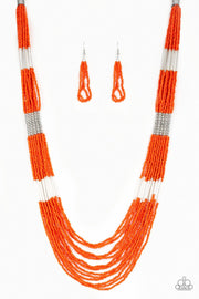 Paparazzi Let It BEAD - Orange - Seed Beads - Necklace and matching - Glitzygals5dollarbling Paparazzi Boutique