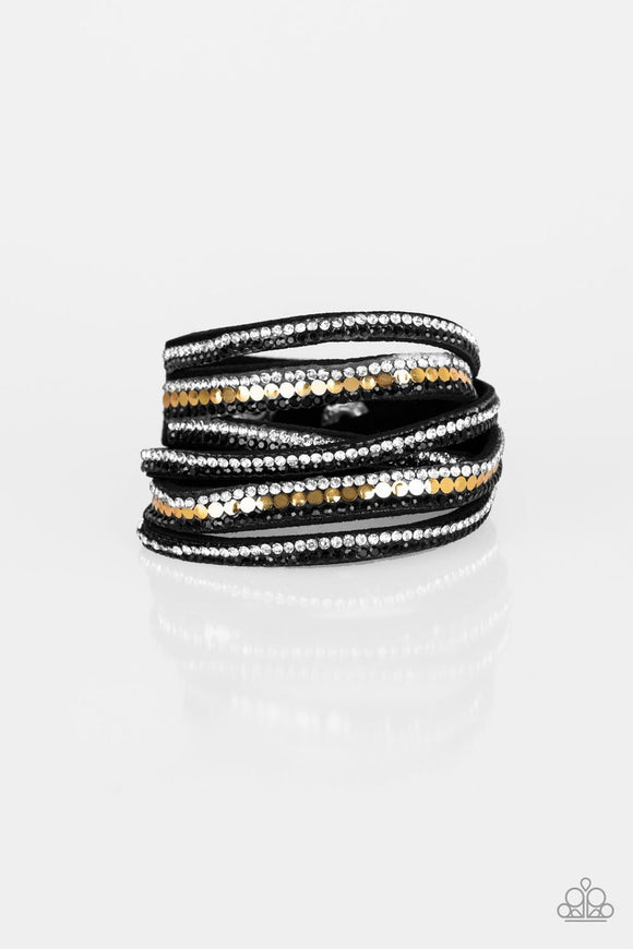Paparazzi Rock Star Attitude - Black / Gold - and White Rhinestones - Double Wrap - Bracelet