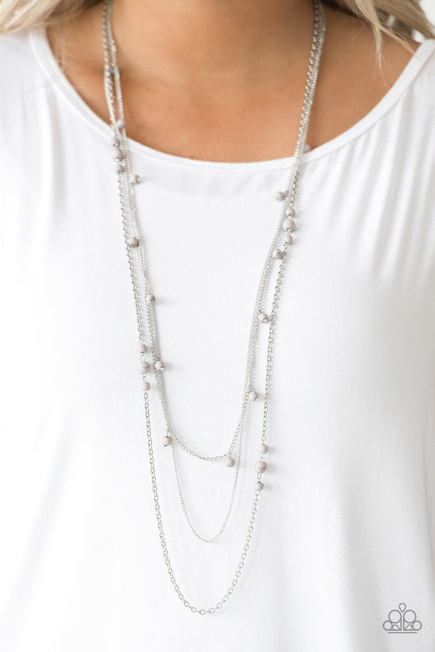 Paparazzi Laying The Groundwork - Silver - Gray Stone Beads - Multi Layered Necklace & Earrings - Glitzygals5dollarbling Paparazzi Boutique