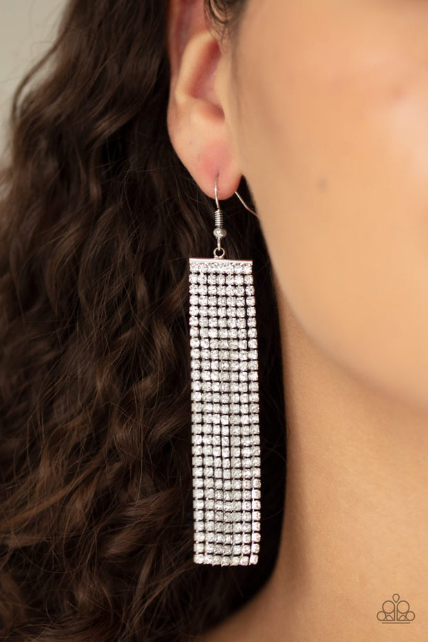 Paparazzi Top-Down Shimmer - White - Rhinestones - Earrings