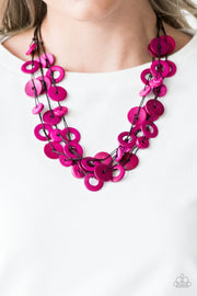 Paparazzi Wonderfully Walla Walla - Pink - Wooden Necklace and matching Earrings - Glitzygals5dollarbling Paparazzi Boutique