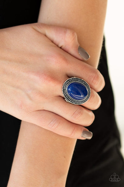 Paparazzi Outdoor Oasis - Blue - Polished Stone - Silver Ring - Glitzygals5dollarbling Paparazzi Boutique