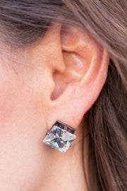 "Paparazzi ""Prima Donna"" Black Gunmetal Post Earrings - Glitzygals5dollarbling Paparazzi Boutique"