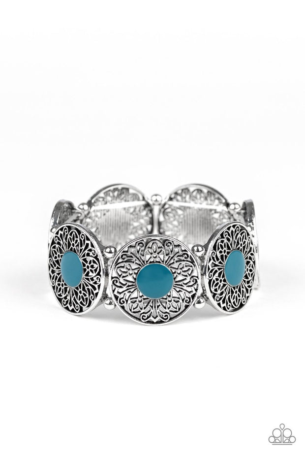 Paparazzi Painted Garden - Blue - Silver Ornate Flower - Stretchy Bracelet