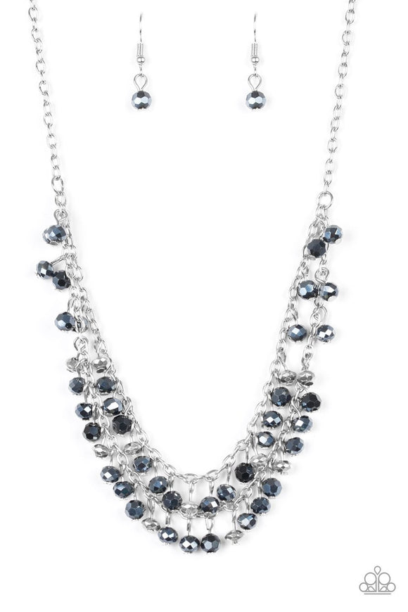 Paparazzi So In Season - Blue - Metallic Gems and Silver Beads - Silver Chains - Necklace and matching Earrings