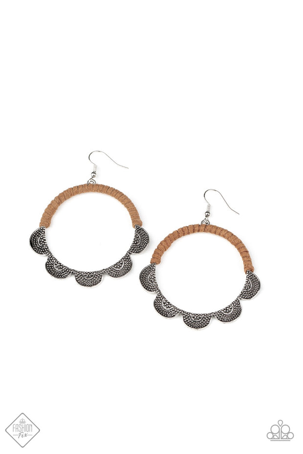 Paparazzi Tambourine Trend - Brown Earrings Fashion Fix Exclusive