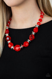 Paparazzi Dine and Dash - Red - Shimmery Silver Accents - Necklace & Earrings - Glitzygals5dollarbling Paparazzi Boutique