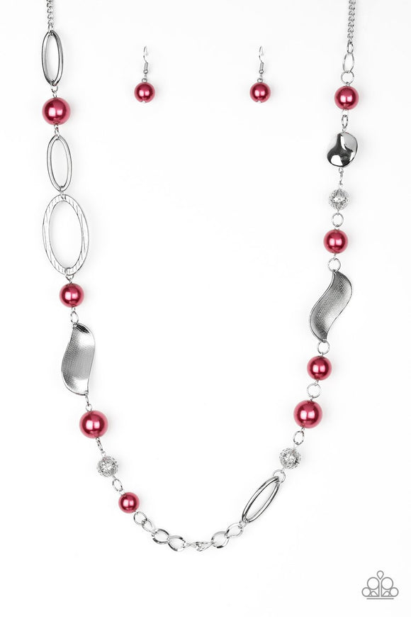 Paparazzi All About Me - Red Pearls - Silver Beads - Necklace and matching Earrings