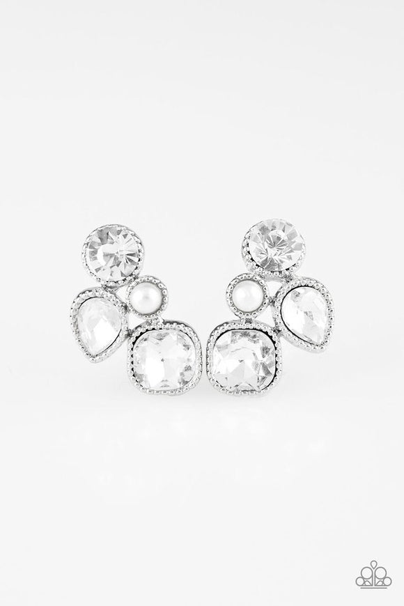 Paparazzi Super Superstar - White Post Earrings