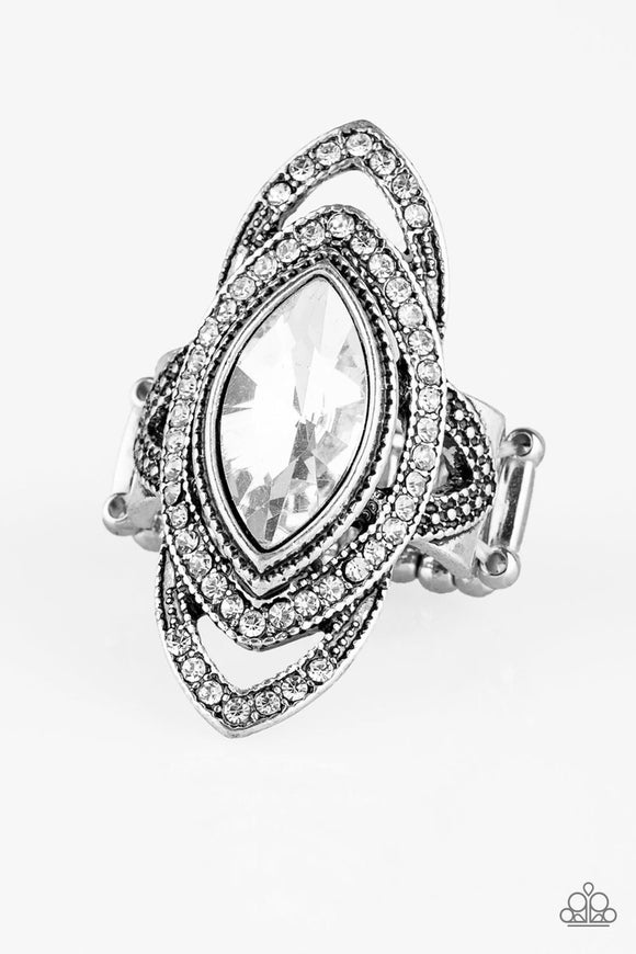 Paparazzi Hot Off The EMPRESS - White Marquise Rhinestone - Ring