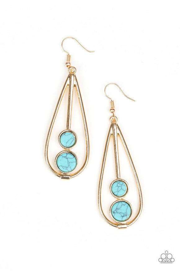 Paparazzi Natural Nova - Gold - Turquoise Stones - Faux Marble Finish - Teardrop Earrings