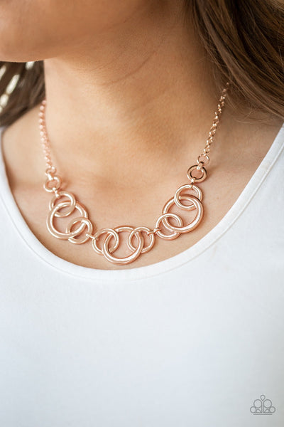 Paparazzi  Going In Circles - Rose Gold Necklace - Glitzygals5dollarbling Paparazzi Boutique