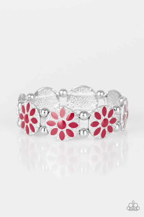 Paparazzi Dancing Dahlias - Red - Silver Stretchy Band Bracelet