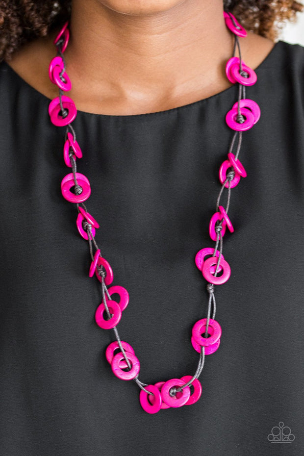 Paparazzi Waikiki Winds - Pink - Wooden Necklace and matching Earrings