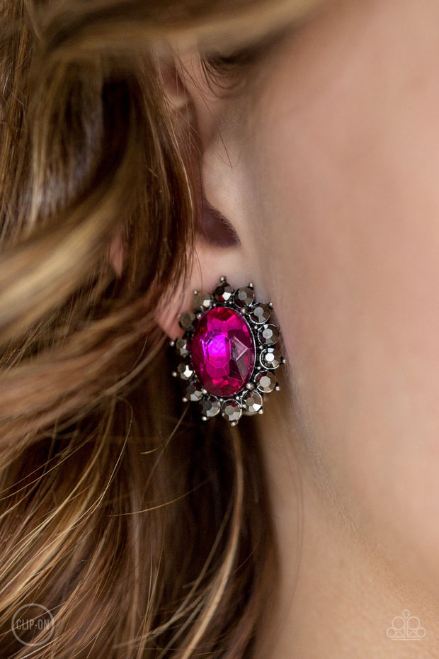 Paparazzi Gala Glamour - Pink Clip-On Earrings - Glitzygals5dollarbling Paparazzi Boutique