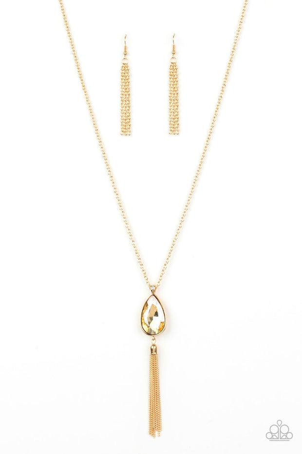 Paparazzi Elite Shine - Gold - Teardrop Gem - Necklace & Earrings - Glitzygals5dollarbling Paparazzi Boutique