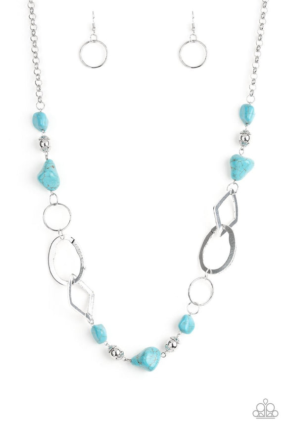 PAPARAZZI NECKLACE THATS TERRA-IFIC! - BLUE Turquoise Silver