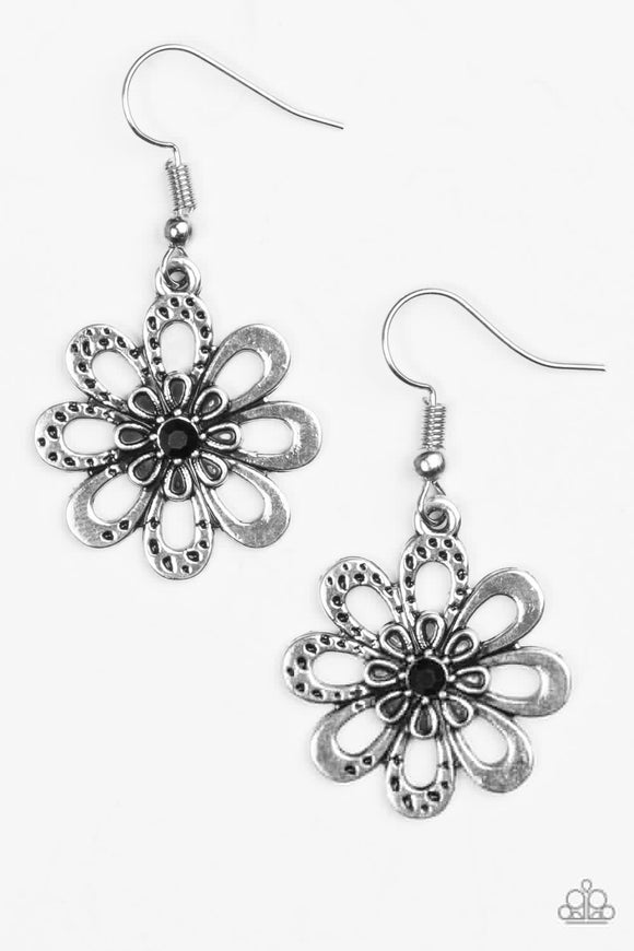 "Paparazzi ""Fashion Floret"" Black Earrings"