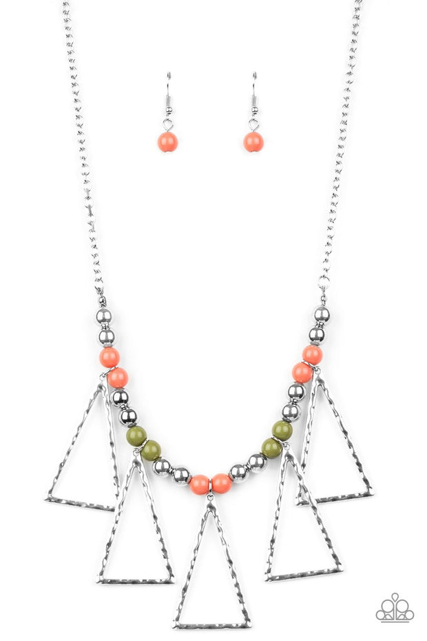 Paparazzi Terra Nouveau - Multi - Beads - Hammered Triangular Frames - Necklace & Earrings - Glitzygals5dollarbling Paparazzi Boutique