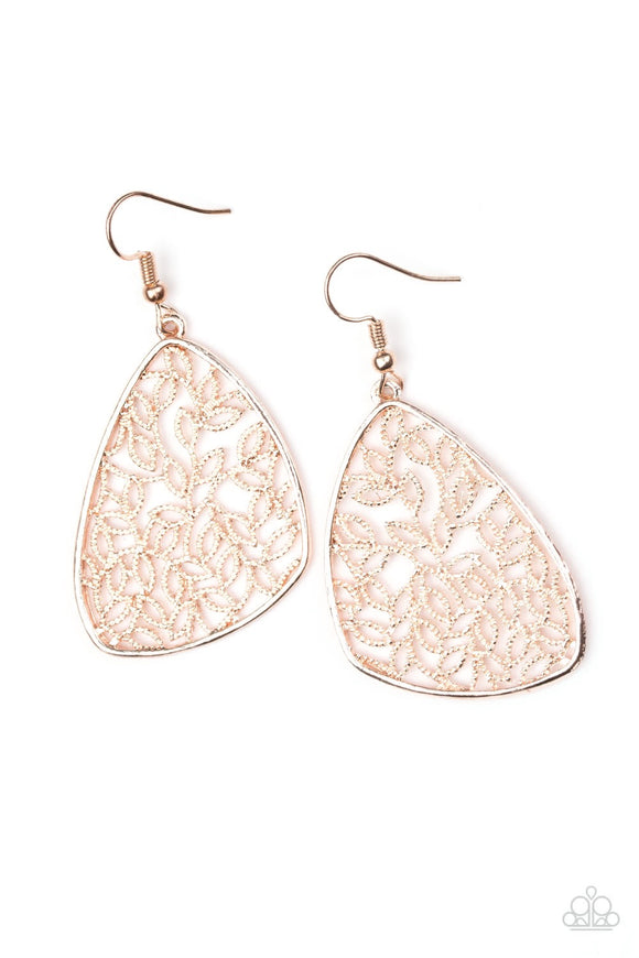 Paparazzi Time to Leaf Rose Gold Earrings