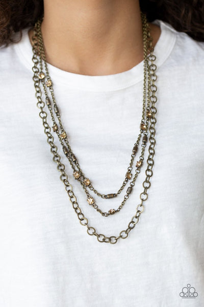 Metro Mixer - brass - Paparazzi necklace - Glitzygals5dollarbling Paparazzi Boutique