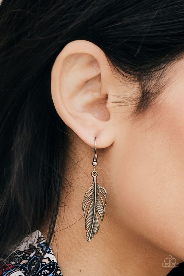"Paparazzi ""Gleaming Glider"" Brass Feather Earring Fashion Fix Exclusive - Glitzygals5dollarbling Paparazzi Boutique"