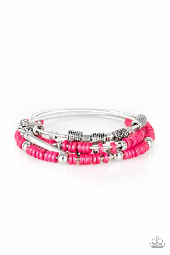 Paparazzi Tribal Spunk - Pink Beading - Set of 4 Stretchy - Bracelets