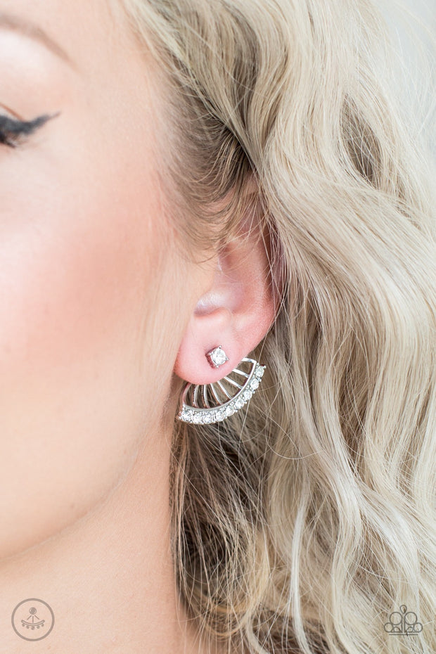 Disco Drama White Post Earrings - Glitzygals5dollarbling Paparazzi Boutique