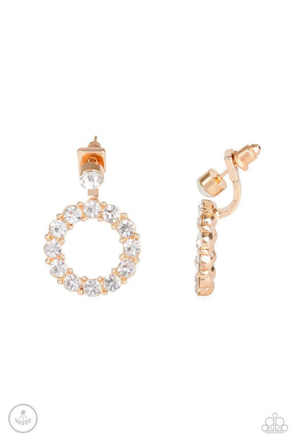 Paparazzi Diamond Halo - Gold - White Rhinestones - Double Sided - Hoop Earrings