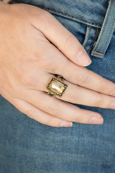 Paparazzi Utmost Prestige Brass Ring - Glitzygals5dollarbling Paparazzi Boutique