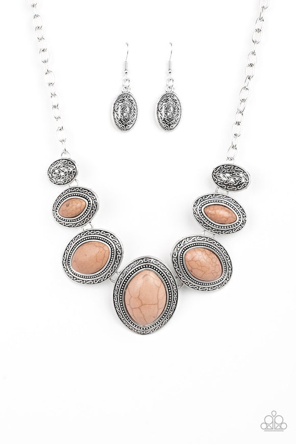 Paparazzi Sierra Serenity - Brown Stones - Silver Necklace and matching Earrings