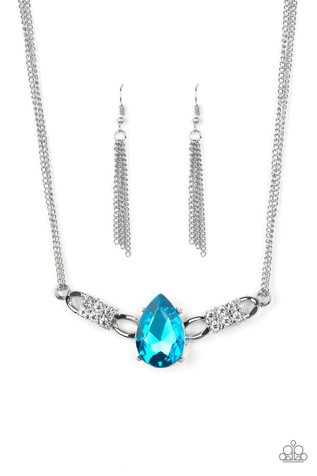 Paparazzi Way To Make An Entrance - Blue - Rhinestone Gem - Necklace & Earrings - Glitzygals5dollarbling Paparazzi Boutique