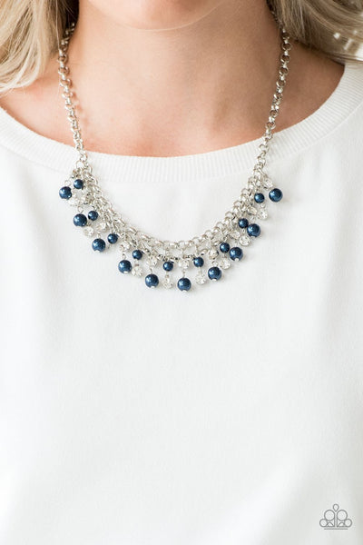 Paparazzi You May Kiss the Bride - Blue Pearls - Silver Necklace and matching Earrings - Glitzygals5dollarbling Paparazzi Boutique