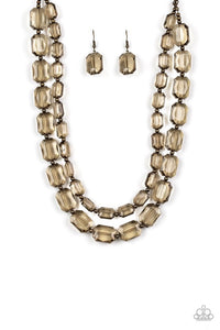 Paparazzi Ice Bank Brass Necklace