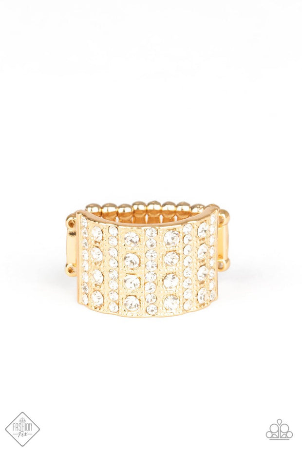 Paparazzi Diamond Drama - Gold - Ring - Trend Blend / Fashion Fix Exclusive June 2020 - Glitzygals5dollarbling Paparazzi Boutique