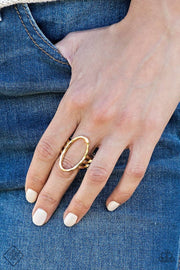 Paparazzi Center Chic - Gold - Ring - Trend Blend / Fashion Fix Exclusive - Glitzygals5dollarbling Paparazzi Boutique
