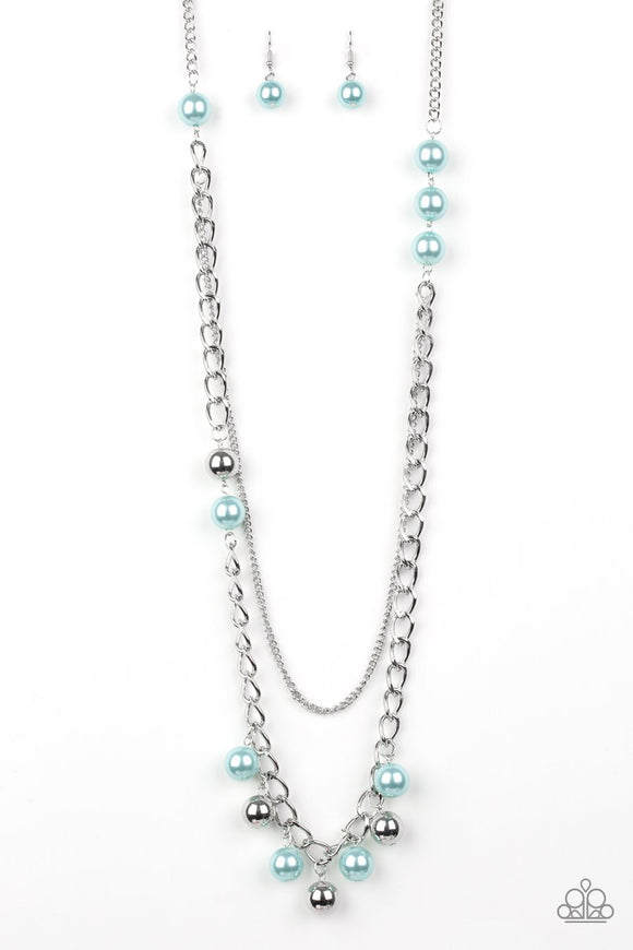 Paparazzi Modern Musical - Blue Pearls - Silver Thick Chain Necklace and Earrings - 2019 Summer Party Exclusive