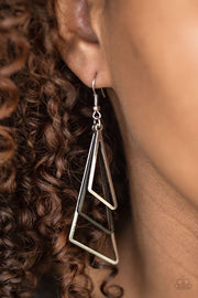 Paparazzi Geo Gorgeous Black and Silver Earrings - Glitzygals5dollarbling Paparazzi Boutique