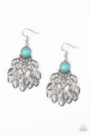 Paparazzi A Bit On The Wildside - Blue - Turquoise Stone - Leaves Cascade - Silver Earrings - Glitzygals5dollarbling Paparazzi Boutique
