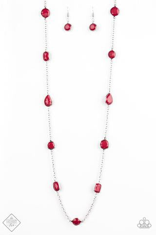 Paparazzi Color Me Carefree Red Necklace Fashion Fix - Glitzygals5dollarbling Paparazzi Boutique