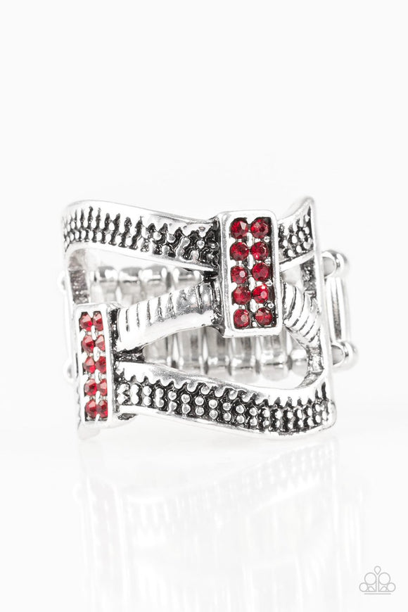 Paparazzi Urban Upscale - Red Rhinestones - Silver Bars - Ring