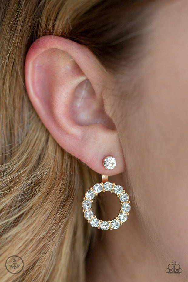 Paparazzi Diamond Halo - Gold - White Rhinestones - Double Sided - Hoop Earrings - Glitzygals5dollarbling Paparazzi Boutique