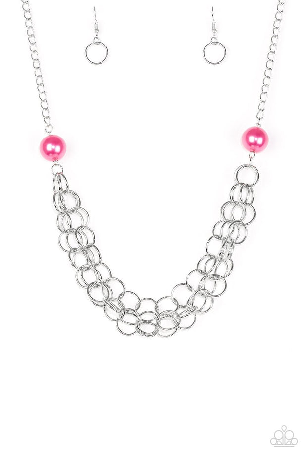 Paparazzi Daring Diva - Pink Pearls - Silver Necklace and matching Earrings - Glitzygals5dollarbling Paparazzi Boutique
