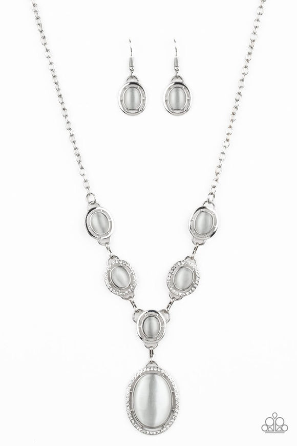 Paparazzi Metro Medallion - White Rhinestones - Cat's Eye Stones - Necklace - Life of the Party Exclusive September 2019