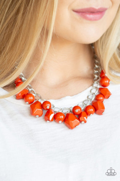 Paparazzi Gorgeously Globetrotter - Orange - Double Silver Chain Necklace & Earrings - Glitzygals5dollarbling Paparazzi Boutique