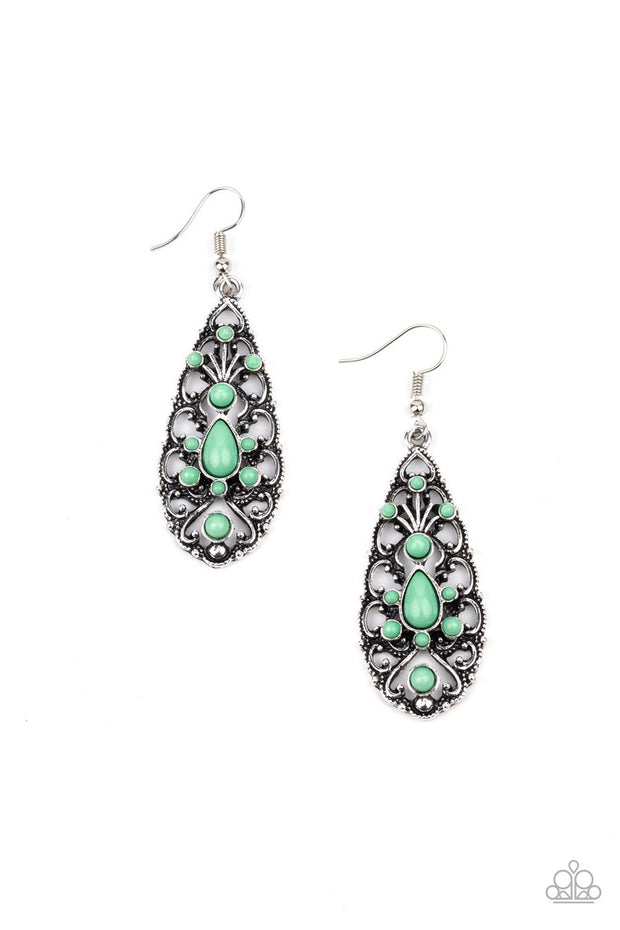 Fantastically Fanciful - green - Paparazzi earrings
