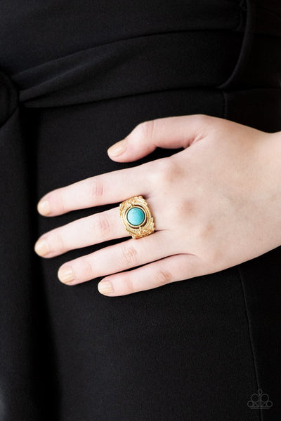 Paparazzi Stand Your Ground - Gold - Blue Turquoise Stone - Ring - Glitzygals5dollarbling Paparazzi Boutique
