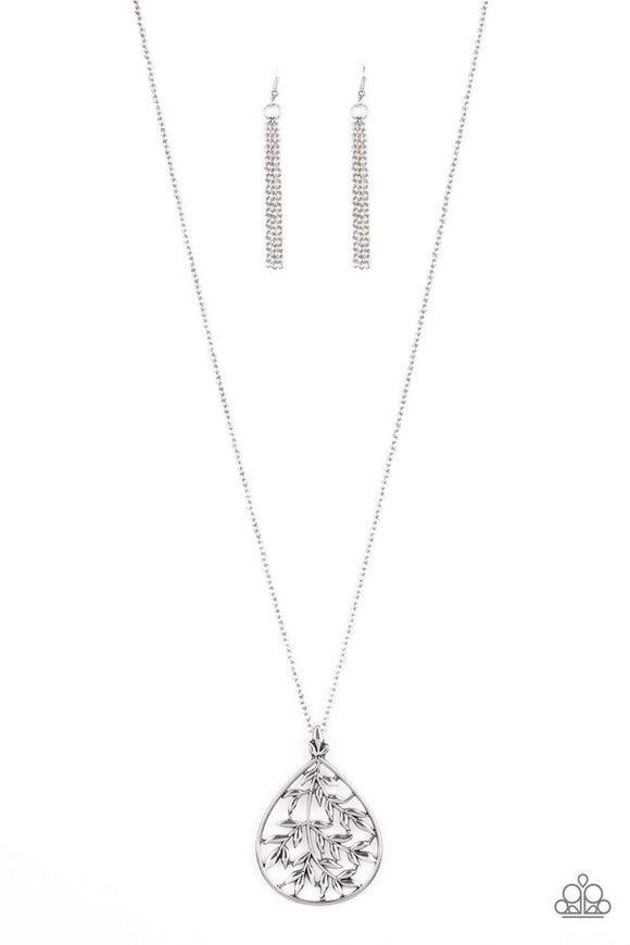 Paparazzi BOUGH Down - Silver Leafy Branches Teardrop - Necklace and matching Earrings